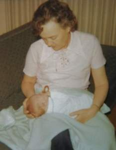 Grandma meeting me in 1974. This is possibly the first photo of us together.