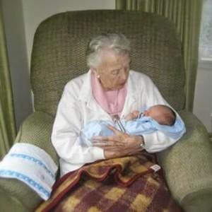 Grandma meeting my nephew Jonah in 2008.